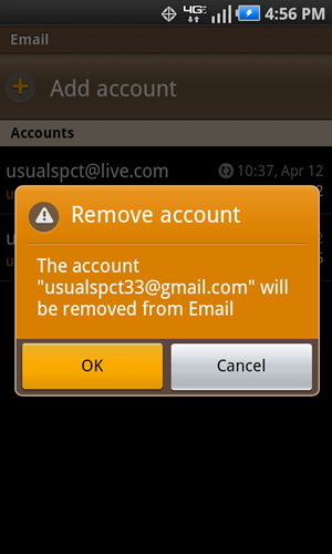 Remove account with OK