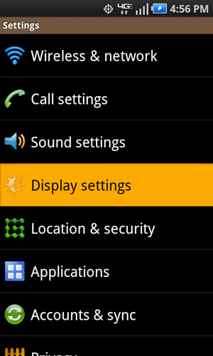 Settings with Display settings