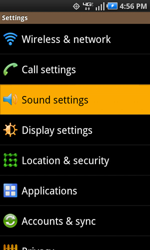 Settings with Sound settings