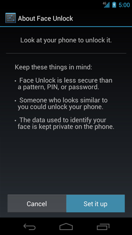 About Face Unlock with Set it up