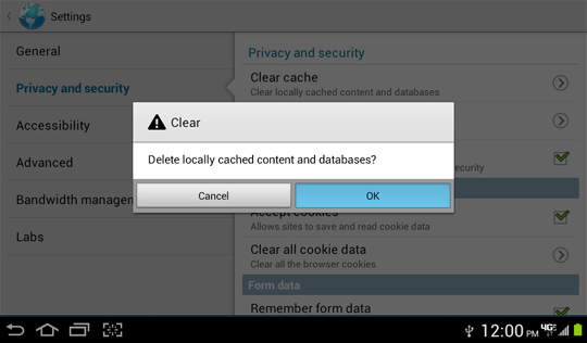 Delete locally cached content and databases confirmation screen, OK
