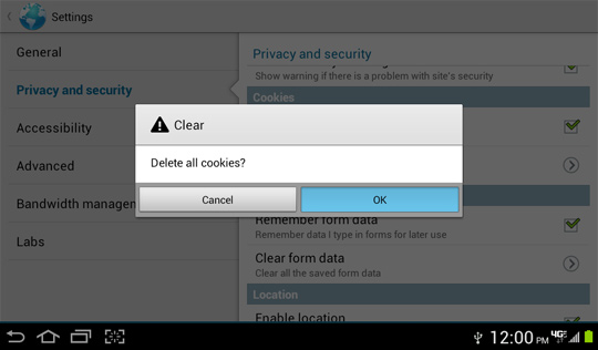 Delete all cookies confirmation screen, OK