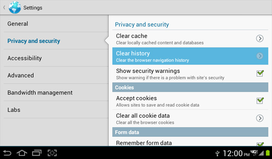 Privacy and security screen, Clear history