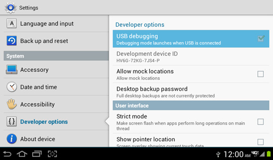 Developer options screen, USB debugging