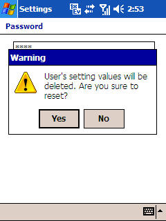 Reset warning message