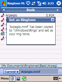 Ringtone Set confirmation