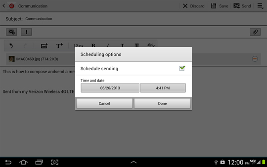 Scheduling options screen, Scheduling sending enabled