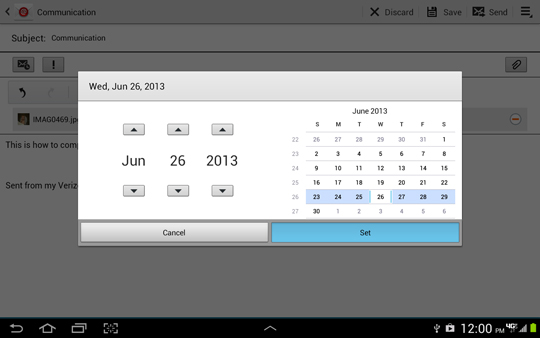 Scheduling options screen, setting date