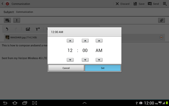 Scheduling options screen, setting time