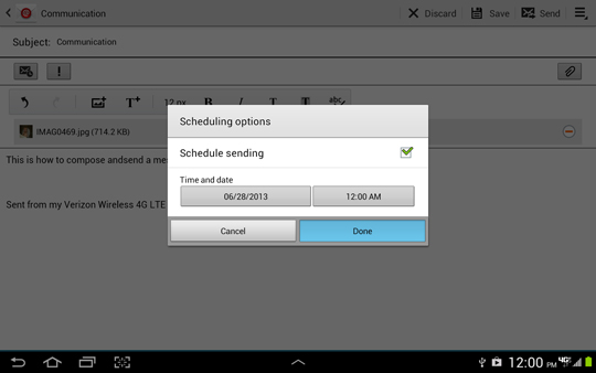 Scheduling options screen, Done