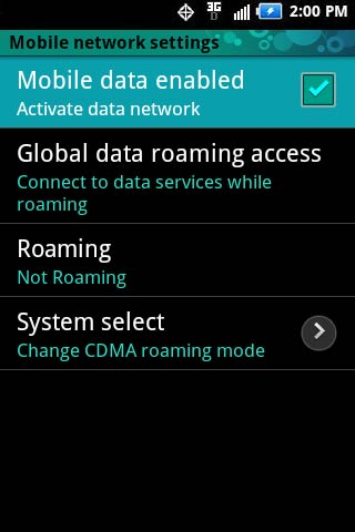 Mobile networks settings with Data enabled