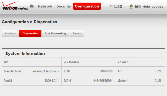 Configuration screen, Diagnostics