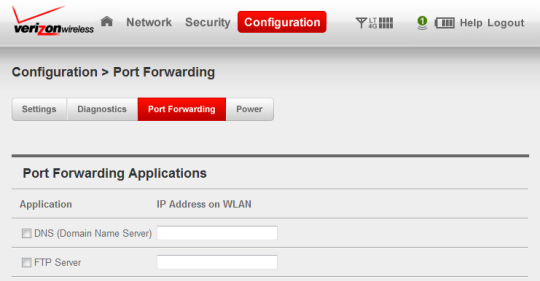 Configuration port forwarding section