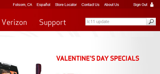 Verizon Wireless website, search field