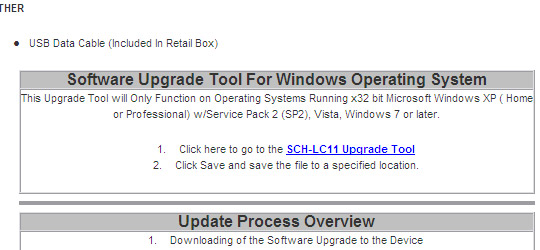 Software Upgrade Tool For Windows Operating System, SCH-LC11 Upgrade Tool