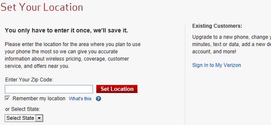 Verizon Wireless website, Set Location page