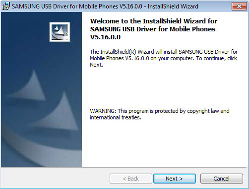 Samsung USB Driver install screen, Next