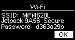 SSID and Password with OK