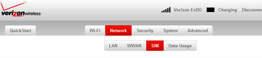 Network tab with SIM