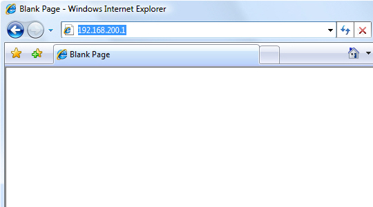 Internet browser with focus on navigating to 192.168.200.1
