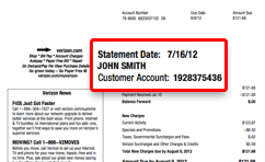 Sample bill, customer account number can be found below statement date and account owner's name