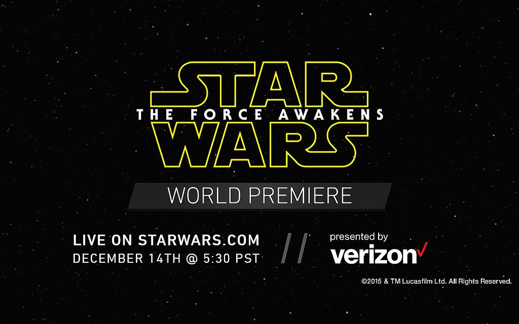 Verizon to present the Star Wars: The Force Awakens premiere livestream on Monday, December 14