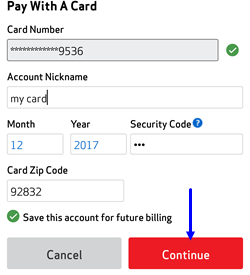 Image: Pay Bill with Card - My Verizon App Screenshot