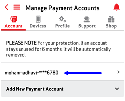 Image: MVM Delete Payment Accounts Screenshot