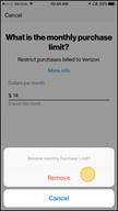 Image: Verizon FamilyBase Remove a Purchase Limit