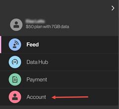 Image: My Verizon app account menu screenshot