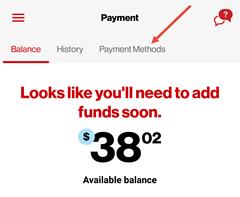 Image: My Verizon app edit payment method screenshot