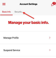 Image: My Verizon app change account PIN screenshot