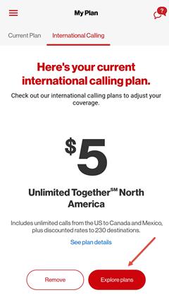 Image: My Verizon app change international calling plan screenshot