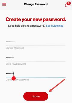 Image: My Verizon app change password screenshot