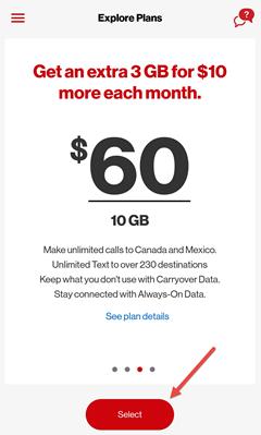 Image: My Verizon app change plan screenshot