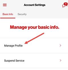Image: My Verizon app change your profile screenshot