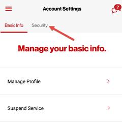 Image: My Verizon app change security question screenshot