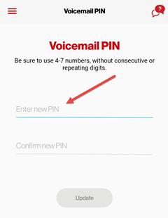 Image: My Verizon app change voicemail PIN screenshot