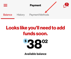 Image: My Verizon app delete payment method screenshot