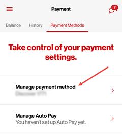 Image: My Verizon app add payment menu screenshot