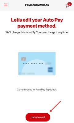 Image: My Verizon app manage auto pay screenshot