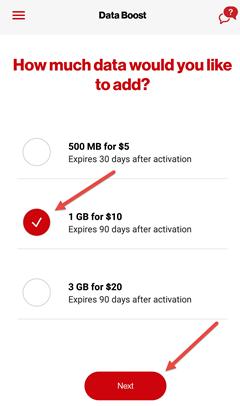 Image: My Verizon app purchase data boost screenshot