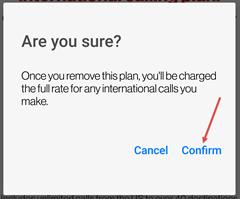Image: My Verizon app remove international calling plan screenshot