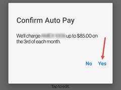 Image: My Verizon app set up auto pay screenshot