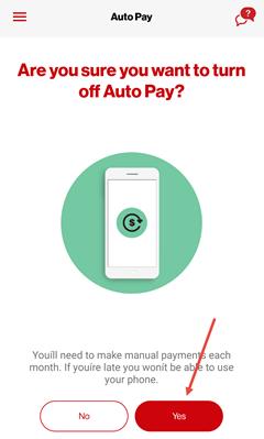 Image: My Verizon app turn off auto pay screenshot