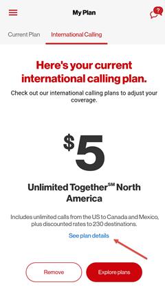 Image: My Verizon app view current international calling plan screenshot