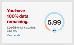 Image: My Verizon app data hub and usage screenshot