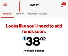 Image: My Verizon app view payment history screenshot