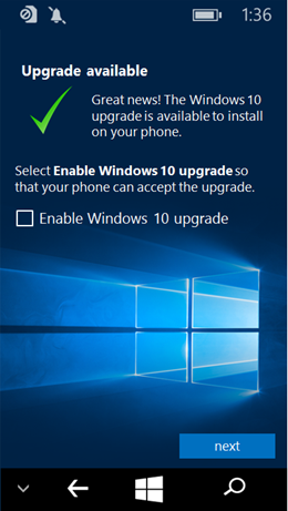 Enabling Windows 10 Upgrade Adviser App screenshot