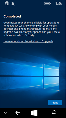 Windows 10 Upgrade Adviser App Updated Completed screenshot